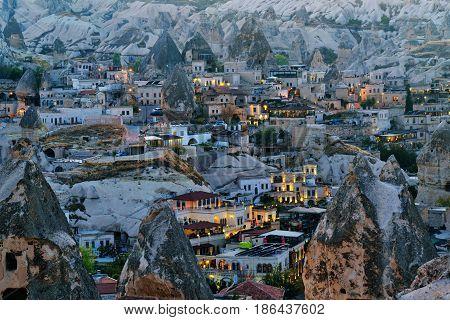 Night View Of Goreme Town. Cappadocia. Turkey