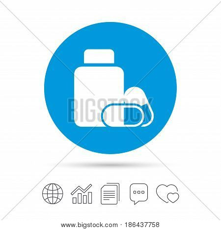 Medical pills bottle sign icon. Pharmacy medicine drugs symbol. Copy files, chat speech bubble and chart web icons. Vector