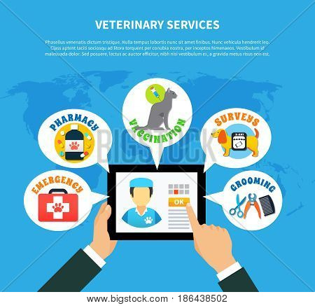 Pet care concept with online choice of veterinary services flat vector illustration