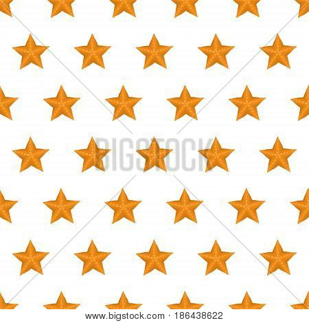Seamless pattern summer beach starfish background with template in swatches for your convenience. Easy to use. Cartoon flat style illustration.