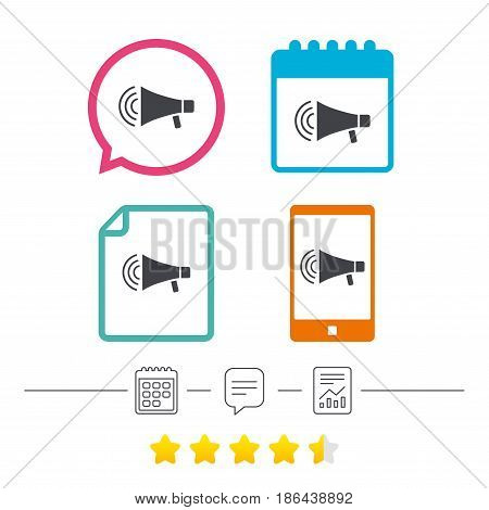 Megaphone sign icon. Loudspeaker strike symbol. Calendar, chat speech bubble and report linear icons. Star vote ranking. Vector