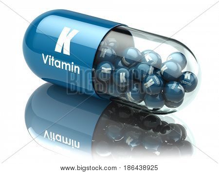 Vitamin K capsule or pill. Dietary supplements. 3d illustration
