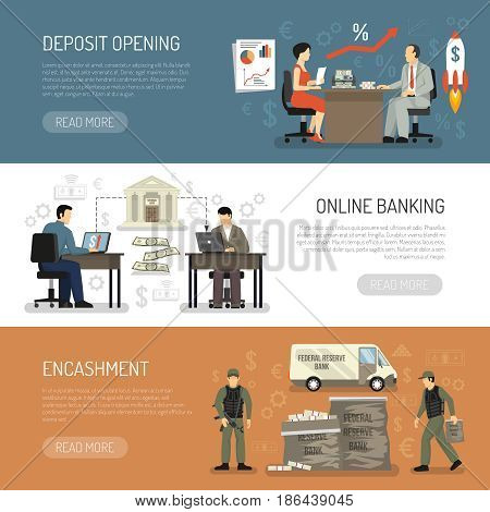 Horizontal banners set with encashment online banking and deposit opening in bank office flat isolated vector illustration