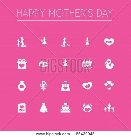 Mothers Day Icon Design Concept. Set Of 20 Such Elements As Decoration, Evening Gown And Fragrance. Beautiful Symbols For Plant, Package And Princess.
