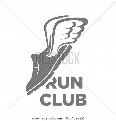 Run club minimalistic logotype in grey color. Drawn sport shoe with small cartoon angel wings placed at angle with name isolated vector illustration on white background. Logo with sneakers design