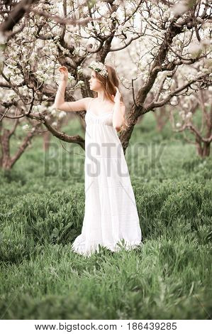 Beautiful teenage girl 14-16 year old posing in pear orchard. Posing outdoors. Spring time.
