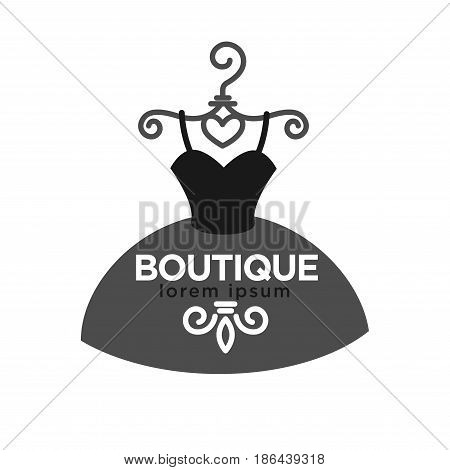 Fashion boutique monochrome minimalistic logotype. Lush evening dress with sign and small logo design on skirt hangs on vintage decorative shoulder isolated vector illustration on white background.