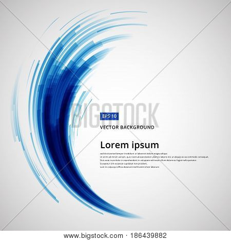 abstract blue lines curve circle swirl technology vector illustration element copy space