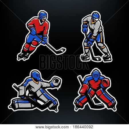Hockey players and goalkeepers set. Vector illustration.