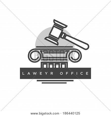 Professional lawyer office monochrome logotype. Judges wooden hammer, outline of antique column part and grey circle behind isolated vector illustration with sign on dark strip on white background.