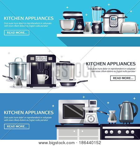 Kitchenware set of horizontal banners with pans, microwave, food processor, blender, toaster, slow cooker isolated vector illustration