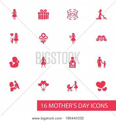 Mothers Day Icon Design Concept. Set Of 16 Such Elements As Flowers, Stroller And I Love Mom. Beautiful Symbols For Soul, Child And Mam.