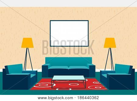 Living room interior design in flat style including armchairs sofa glass table lamp and empty picture frame. Flat vector illustration.