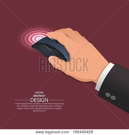 The hand operates wireless computer mouse.3d style. Isometry. Realistic vector illustration. Design elements.