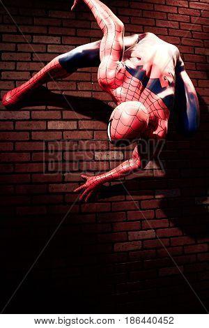 LAS VEGAS, USA - Oct 29, 2016: Close up Spiderman, Madame Tussauds museum in Las Vegas.