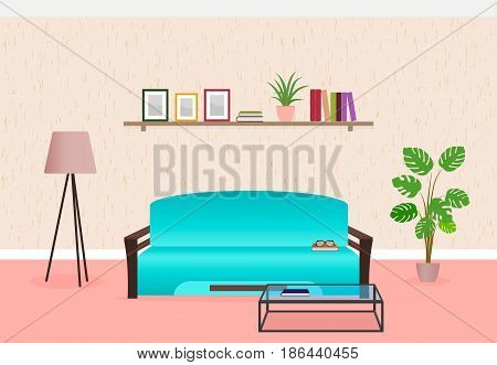 Living room interior design in flat style including furniture sofa glass table lamp and bookshelf. Flat vector illustration.