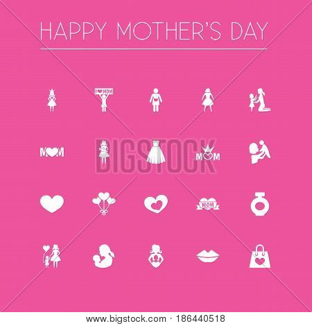 Mothers Day Icon Design Concept. Set Of 20 Such Elements As Female, Mom And Decoration. Beautiful Symbols For Princess, Love And Baby.