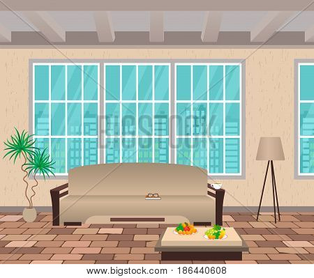 Living room interior. Modern design of domestic room with cityscape outside window sofa lamp and brick flooring. Vector illustration.