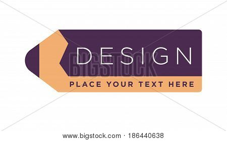 Design studio logotype with text written on pencil vector Illustration isolated on white. Creative logo drawing tool, workshop instrument in flat style design. Advertising sticker for drawing company