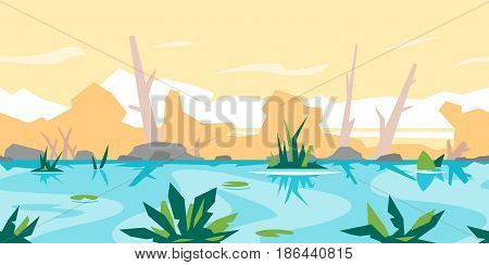 River with water lily and bulrush plants, dead trees with stones and plants, nature game background, tileable horizontally