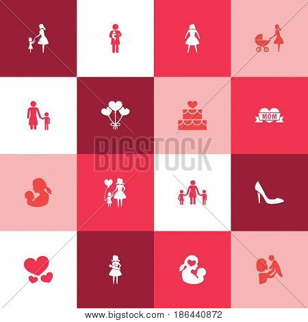 Mothers Day Icon Design Concept. Set Of 16 Such Elements As Stiletto, Mother And Female. Beautiful Symbols For Care, Soul And Baby.
