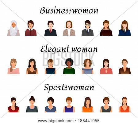 Avatars characters set of different kind women. Business elegant and sports female icons faces on a white background. Flat style vector illustration.