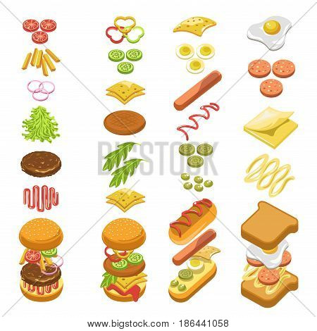 Preparing fast food step by step template colorful vector poster in flat design on white. Cooking hot dog, burgers and toasts with meat or sausage, cheese and vegetables. Infographic recipe concept