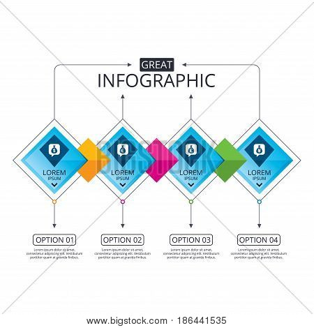 Infographic flowchart template. Business diagram with options. Money bag icons. Dollar, Euro, Pound and Yen speech bubbles symbols. USD, EUR, GBP and JPY currency signs. Timeline steps. Vector