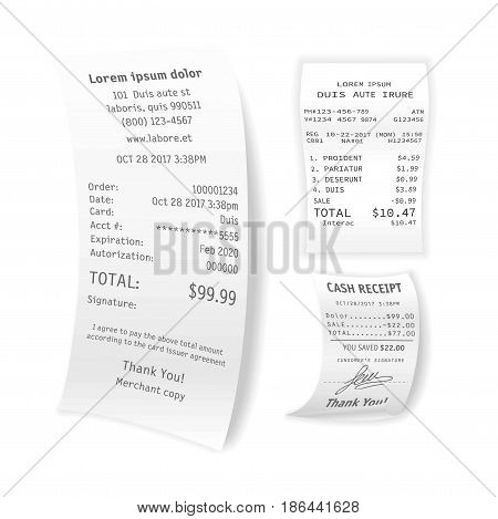Printed cash receipts vector collection isolated on white. Poster of three various paper pieces confirming purchase of some products or services with information of buying time and place, total sum