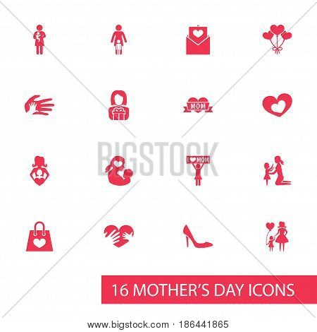 Mothers Day Icon Design Concept. Set Of 16 Such Elements As Loving, Missus And Package. Beautiful Symbols For Package, Present And I.