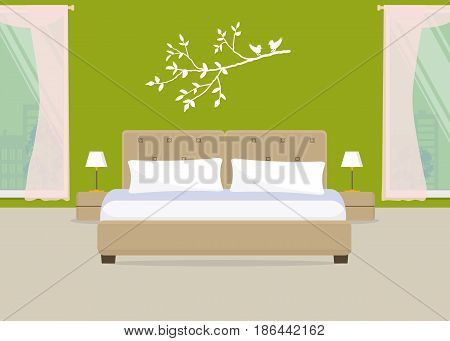 Bedroom in a green color. There is a bed with pillows, bedside tables, lamps on a window background in the picture. There is also a branch of a tree on the wall. Vector flat illustration.