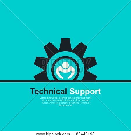 Vector illustration with the concept of technical support. The place for the text. Symbol of a logo of support service. Flat design.