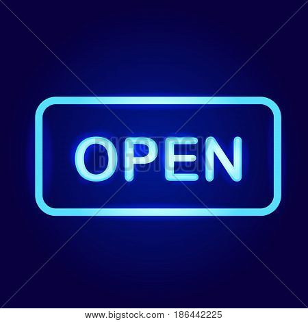 Open Neon Sign vector blue sign on blue background