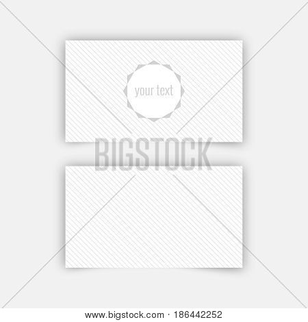 Business card blank template with textured background from thin diagonal lines and polygonal banner. Minimal elegant vector design