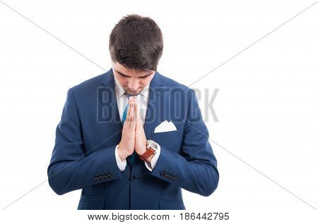 Lawyer Or Salesman Thinking And Praying