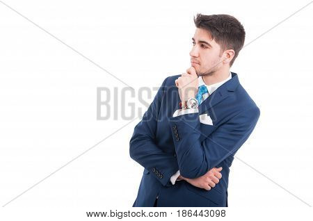 Young Pensive Lawyer Or Broker In Formal Suit