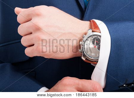 Elegant Man's Hands With Expensive Watch