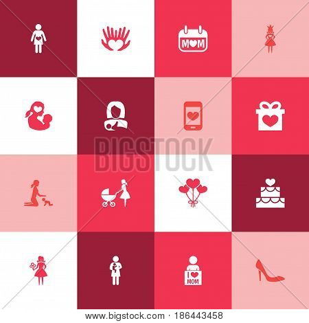 Mothers Day Icon Design Concept. Set Of 16 Such Elements As Newborn Baby, Queen And Woman. Beautiful Symbols For Heart, Heeled And Smartphone.