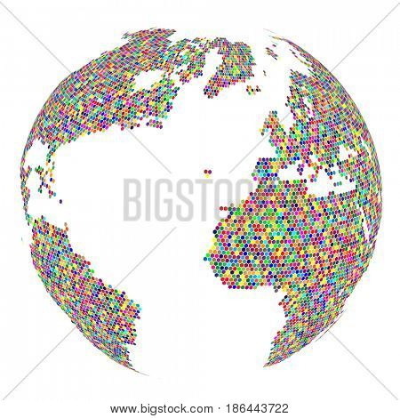 Mosaic Globe isolated on white background. Abstract business Icon. Illustration