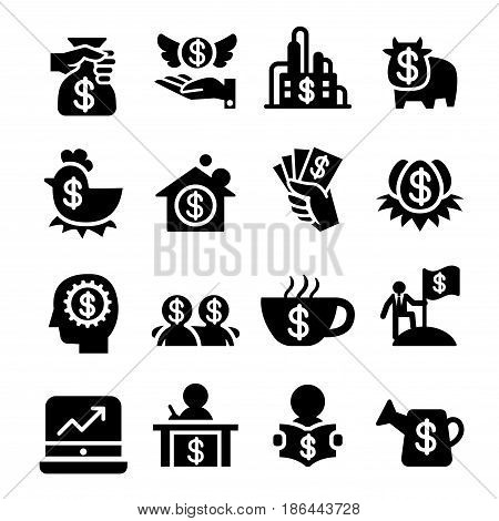 Investment icons set vector illustration Graphic design