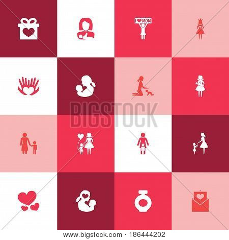 Mothers Day Icon Design Concept. Set Of 16 Such Elements As Protect, Baby And Madame. Beautiful Symbols For Palm, Love And Letter.