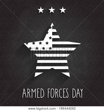 Armed Forces Day card. Black background. Vector illustration.