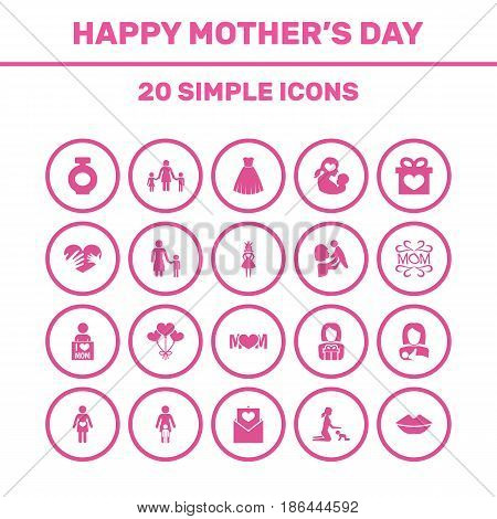 Mothers Day Icon Design Concept. Set Of 20 Such Elements As Mam, Protect And Fragrance. Beautiful Symbols For I, Pregnant And Perfume.