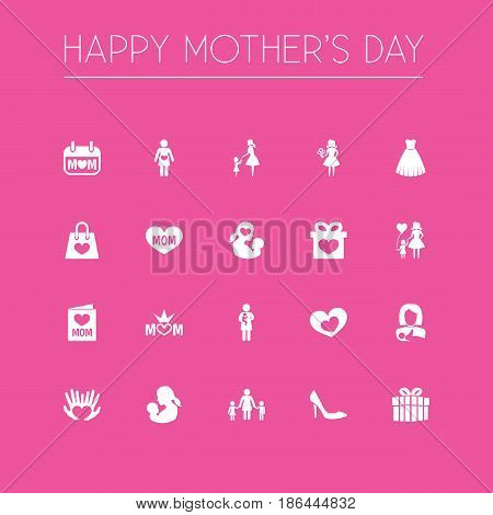 Mothers Day Icon Design Concept. Set Of 20 Such Elements As Woman, Palms And Child. Beautiful Symbols For Family, Card And Bouquet.