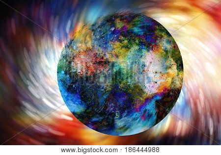 Cosmic Space And Planet. Color Cosmic Abstract Background. Swirl Effect.