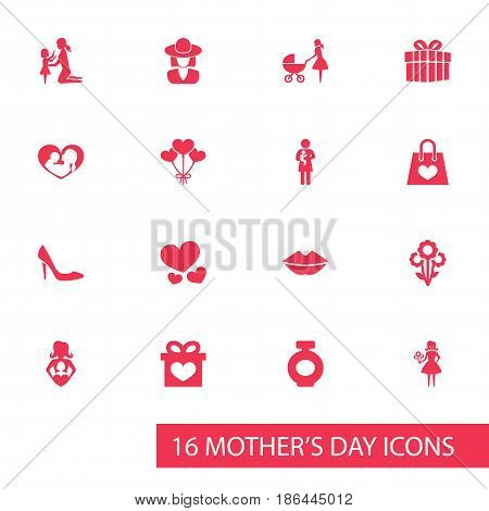 Mothers Day Icon Design Concept. Set Of 16 Such Elements As Nanny, Present And Stroller. Beautiful Symbols For Headgear, Bottle And Present.