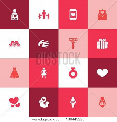 Mothers Day Icon Design Concept. Set Of 16 Such Elements As Missus, Fragrance And I Love Mom. Beautiful Symbols For Pregnant, Newborn And Letter.