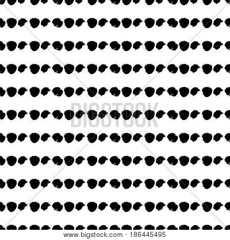 Vector seamless pattern. Black and white round brush strokes. Grungy hand drawn illustration. Abstract lines. Good for web, print and wrapping paper
