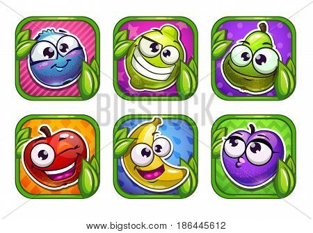 Bright cartoon app icons with funny fruit and berry characters. Vector assets for game or web design. Isolated on white background.