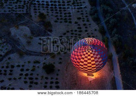 Morning Start Of Hot Air Balloons In Cappadocia. Turkey